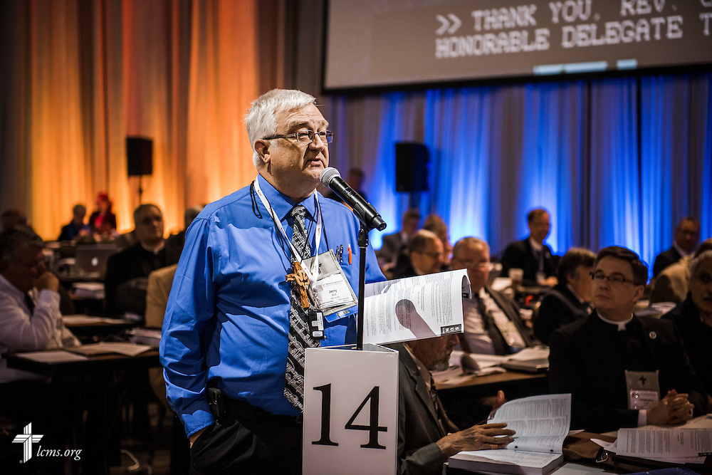 Jerry Wulf, LCMS chief financial officer, speaks on Monday, July 11, 2016, at the 66th Regular Convention of The Lutheran Church–Missouri Synod, in Milwaukee. LCMS/Frank Kohn