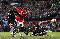 Photo: Paul Thomas.<br /> Manchester United v Charlton Athletic. The Barclays Premiership. 10/02/2007.<br /> <br /> Louis Saha (C) of Man Utd has this shot saved.