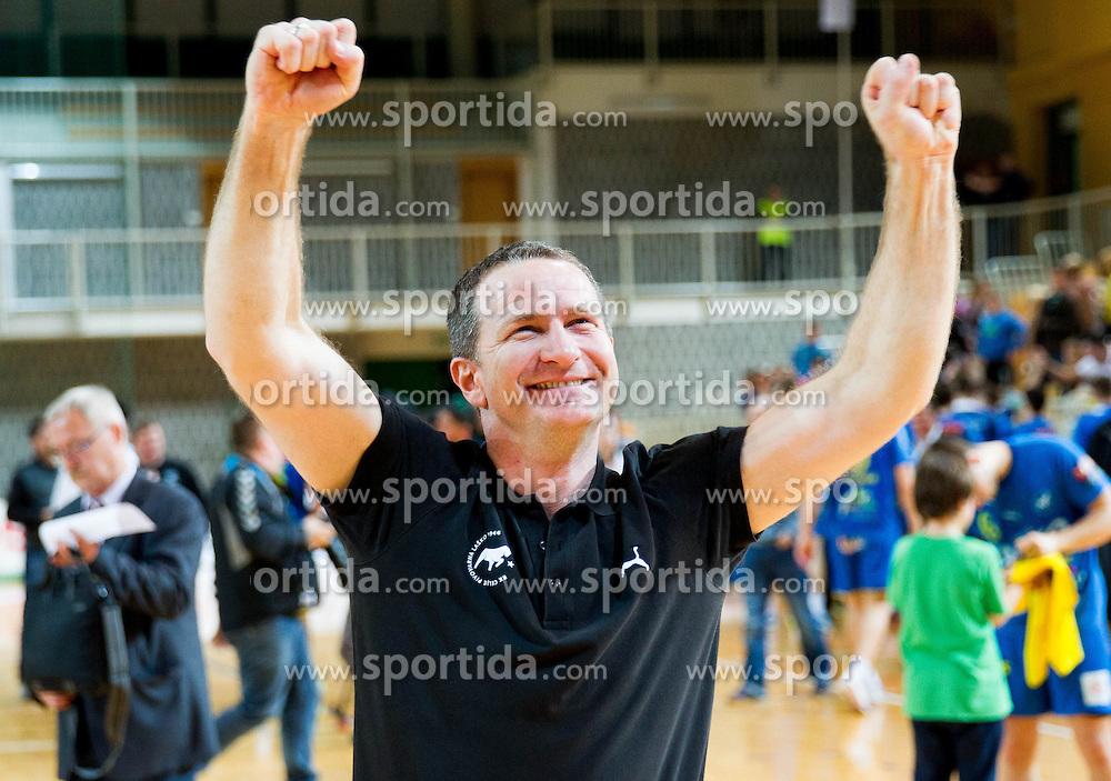 Vladan Matic, head coach of Celje celebrates after the handball match between RK Cimos Koper and RK Celje Pivovarna Lasko in 26th Round of 1st NLB Leasing league 2012/13 on April 14, 2013 in Arena Bonifika, Koper, Slovenia. Celje PL defeated Cimos Koper 36-31. (Photo By Vid Ponikvar / Sportida)