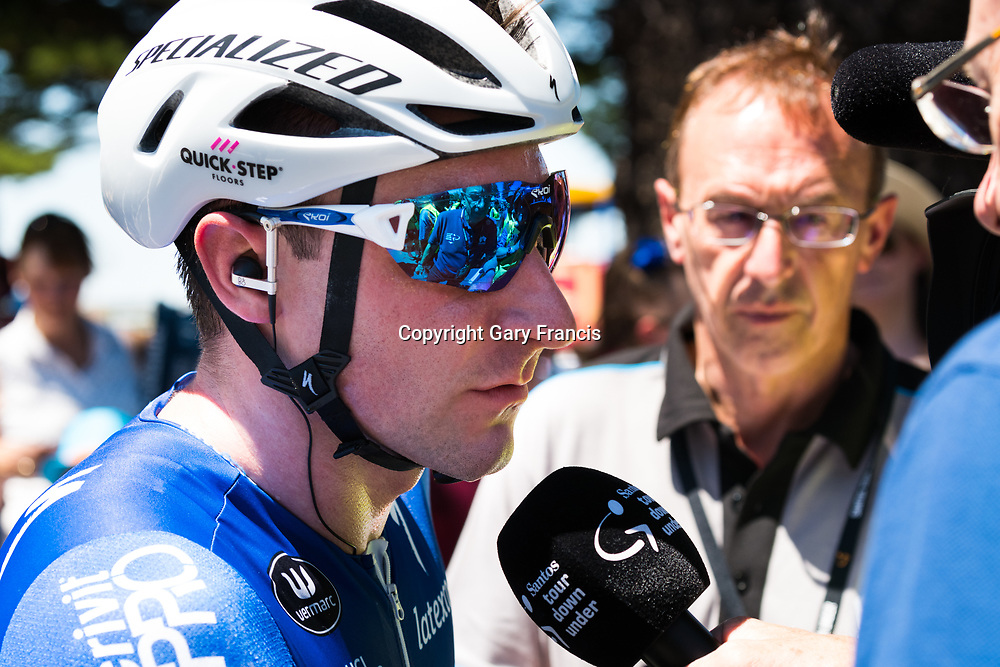 Winner Elia Viviani of Team Quick Step Floors wins Stage 3, Glenelg to Victor Harbor, of the Tour Down Under, Australia on the 18 of January 2018 ( Credit Image: © Gary Francis / ZUMA WIRE SERVICE )