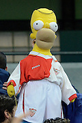 Bart Simpson in Sevilla kit during the Champions League Group D match between Manchester City and Sevilla at the Etihad Stadium, Manchester, England on 21 October 2015. Photo by Alan Franklin.
