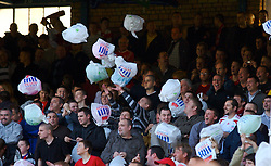 Liverpool, England - Saturday, October 20, 2007: Liverpool's fans tease the Everton fans with plastic Tesco bags before the 206th Merseyside Derby match against Everton at Goodison Park. (Photo by David Rawcliffe/Propaganda)