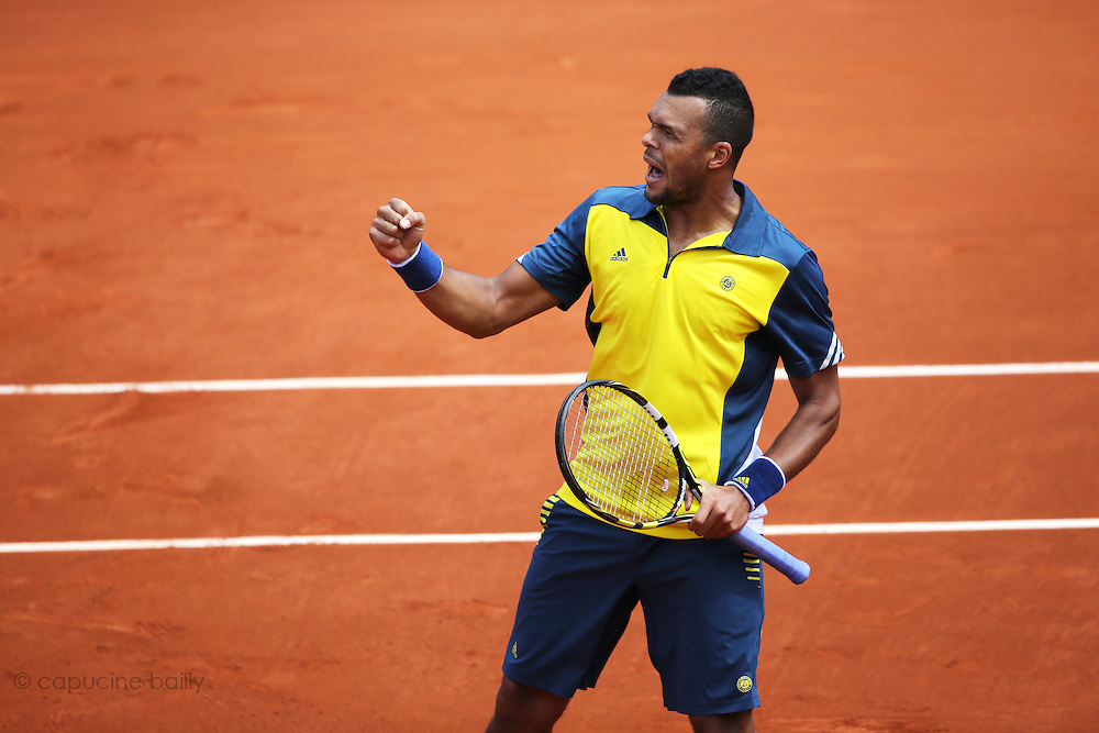 Paris, France. Roland Garros. May 29th 2013.<br /> French player Jo-Wilfried TSONGA against Jarkko NIEMINEN