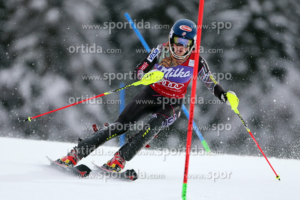 05.01.2014, Stelvio, Bormio, ITA, FIS Ski Alpin Weltcup, Salom, Damen, 1. Durchgang, im Bild Mikaela Shiffrin // Mikaela Shiffrin in action during 1st run of ladies Slalom of the Bormio FIS Ski World Cup at the Stelvio Course in Bormio, Italy on 2014/01/05. EXPA Pictures &copy; 2014, PhotoCredit: EXPA/ Sammy Minkoff<br /> <br /> *****ATTENTION - OUT of GER*****