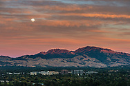 Moonrise and clouds at sunset over Mount Diablo, Contra Costa County, California
