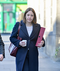 Pictured: Kezia Dugdale arrives at Court on Tuesday.<br /> <br /> Former Scottish Labour leader Kezia Dugdale appeared at Edinburgh Sheriff Court to defend a defamation action brought by blogger Stuart Campbell over claims she referred to his tweets as homophobic.<br /> <br /> © Dave Johnston/ EEm