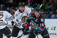 KELOWNA, CANADA - OCTOBER 20: Cody Glass #8 of the Portland Winterhawks checks Dillon Dube #19 of the Kelowna Rockets during first period on October 20, 2017 at Prospera Place in Kelowna, British Columbia, Canada.  (Photo by Marissa Baecker/Shoot the Breeze)  *** Local Caption ***