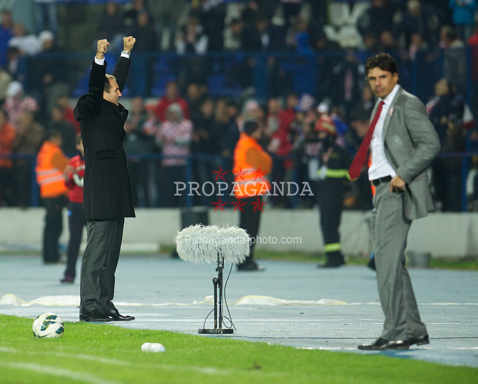 OSIJEK, CROATIA - Tuesday, October 16, 2012: Croatia's head coach Igor Stimac celebrates his side's 2-0 victory over Wales during the Brazil 2014 FIFA World Cup Qualifying Group A match at the Stadion Gradski Vrt. (Pic by David Rawcliffe/Propaganda)
