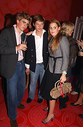 Left to right, FREDDIE RYECART, COUNT NIKOLI VON BISMARCK and PRINCESS BEATRICE OF YORK at a party hosted by jeweller Theo Fennell and Dominique Heriard Dubreuil of Remy Martin fine Champagne Cognac entitles 'Hot Ice' held at 35 Belgrave Square, London, W1 on 26th October 2004.<br />