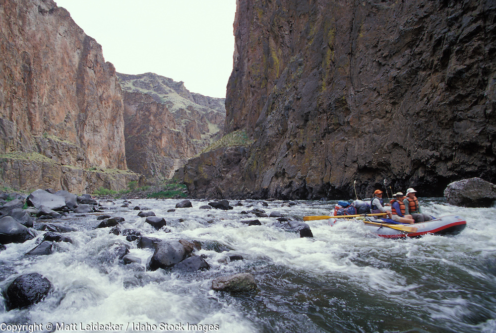 Idaho, lower Owyhee, Canyonlands, .  Rafters going through a rapid in the river canyon. MR.