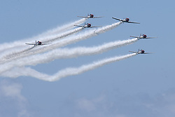 May 4, 2019 - Fort Lauderdale, Florida, United States Of America - FORT LAUDERDALE, FL - MAY 04: GEICO Skytypers performs in the Fort Lauderdale Air Show on May 4, 2019 in Fort Lauderdale, Florida...People:  GEICO Skytypers. (Credit Image: © SMG via ZUMA Wire)