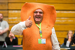 © Licensed to London News Pictures. 08/06/2017. Kendal UK. Picture shows candidate Mr Fish Finger as Ballot boxes have started to arrive in Kendal leisure centre for counting to begin in Tim Farron's constituency of Westmorland & Lonsdale. Photo credit: Andrew McCaren/LNP