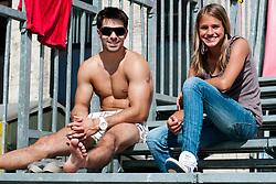 Rok Klavora, gymnast and boyfriend of Simona Fabjna, and Katarina Fabjan at Zavarovalnica Triglav Beach Volley Open as tournament for Slovenian national championship on July 29, 2011, in Kranj, Slovenia. (Photo by Matic Klansek Velej / Sportida)