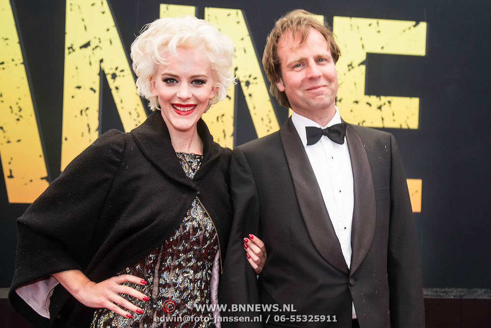 NLD/Amsterdam/20140508 - Wereldpremiere Musical Anne, Stacey Rookhuizen en partner Frank Le Mair