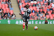 Grimsby Town defender Aristote Nsiala  during the FA Trophy match between Grimsby Town FC and Halifax Town at Wembley Stadium, London, England on 22 May 2016. Photo by Dennis Goodwin.