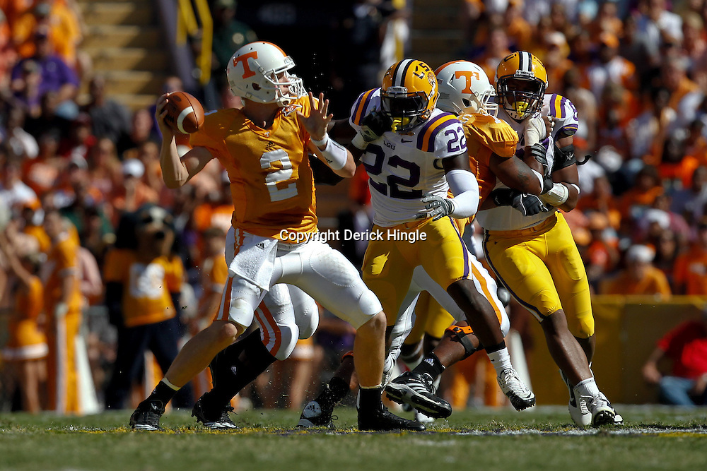 Oct 2, 2010; Baton Rouge, LA, USA; Tennessee Volunteers quarterback Matt Simms (2) throws a pass against the LSU Tigers during the first quarter at Tiger Stadium. LSU defeated Tennessee 16-14.  Mandatory Credit: Derick E. Hingle