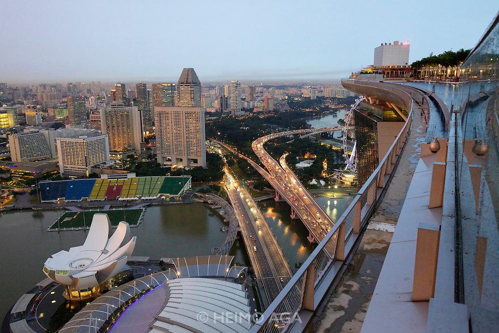 Singapore. Marina Bay Sands. Sunset view over Marina Bay and downtown.