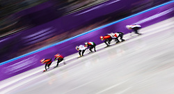 South Korea's Hyojun Lim (centre) and eventual gold medalist in the Mens 1500m Short track speed skating semi final during day one of the PyeongChang 2018 Winter Olympic Games in South Korea. PRESS ASSOCIATION Photo. Picture date: Saturday February 10, 2018. See PA story OLYMPICS Short Track. Photo credit should read: David Davies/PA Wire. RESTRICTIONS: Editorial use only. No commercial use.