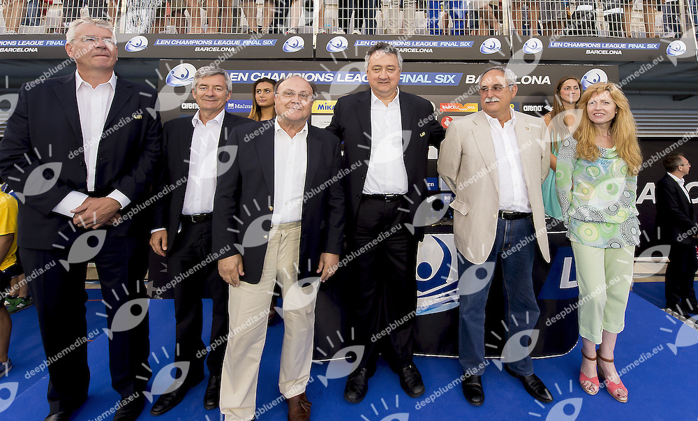 (L to R) Alexander Sostar LEN Bureau; Fernando Carpena RFEN President; Dimitri Diathesopolos LEN Vice president; Paolo Barelli LEN President; Julian Garcia CNA Barceloneta President; Iolanda Latorre Ayuntamient de Barcelona<br /> Final 1st - 2nd VK Primorje - Pro Recco <br /> LEN CHAMPIONS LEAGUE FINAL SIX BARCELONA 2015<br /> Water Polo Pallanuoto<br /> Day 03 30/05/2015 <br /> Barcelona May 28 - 30  2015<br /> Photo Giorgio Scala/Deepbluemedia/Insidefoto