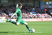 Burton Albion goalkeeper Jon McLaughlin (1) takes goal kick  during the Sky Bet League 1 match between Scunthorpe United and Burton Albion at Glanford Park, Scunthorpe, England on 9 April 2016. Photo by Ian Lyall.