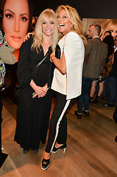 Left to right, JO WOOD and JILLY JOHNSON at the launch of Simply Glamorous by Gary Cockerill held at Alon Fine Art, 5-7 Dover Street, London on 16th September 2015.