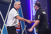 Steve Beaton wins his third round match against James Wade during the PDC William Hill World Darts Championship at Alexandra Palace, London, United Kingdom on 22 December 2019.