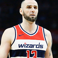 09 December 2017: Washington Wizards center Marcin Gortat (13) rests during the LA Clippers 113-112 victory over the Washington Wizards, at the Staples Center, Los Angeles, California, USA.
