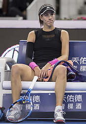 BEIJING , Oct. 2, 2018  Garbine Muguruza of Spain reacts during the women's singles second round match against Aryna Sabalenka of Belarus at China Open tennis tournament in Beijing, China, Oct. 2, 2018. Garbine Muguruza lost 0-2. (Credit Image: © Fei Maohua/Xinhua via ZUMA Wire)