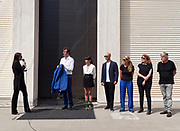 "FREESPACE - 16th Venice Architecture Biennale. Austria, ""Thoughts Form Matter"". Opening ceremony. Curator Verena Konrad (l.) introducing the participants."