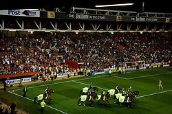 Police horses enter the ground to repel pitch invaders after Bristol City win 2-1 - Photo mandatory by-line: Rogan Thomson/JMP - Tel: 07966 386802 - 04/09/2013 - SPORT - FOOTBALL - Ashton Gate, Bristol - Bristol City v Bristol Rovers - Johnstone's Paint Trophy - First Round - Bristol Derby