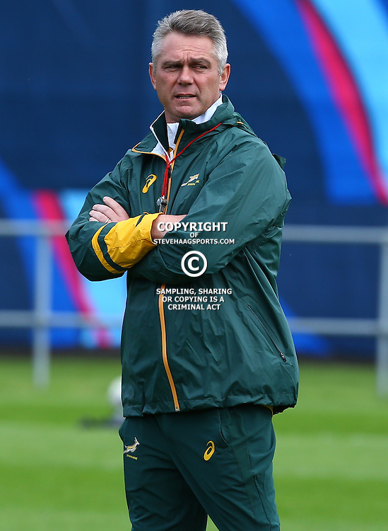 BIRMINGHAM, ENGLAND - SEPTEMBER 22: Heyneke Meyer (Head Coach) of South Africa during the South African national rugby team training session at University of Birmingham on September 22, 2015 in Birmingham, England. (Photo by Steve Haag)