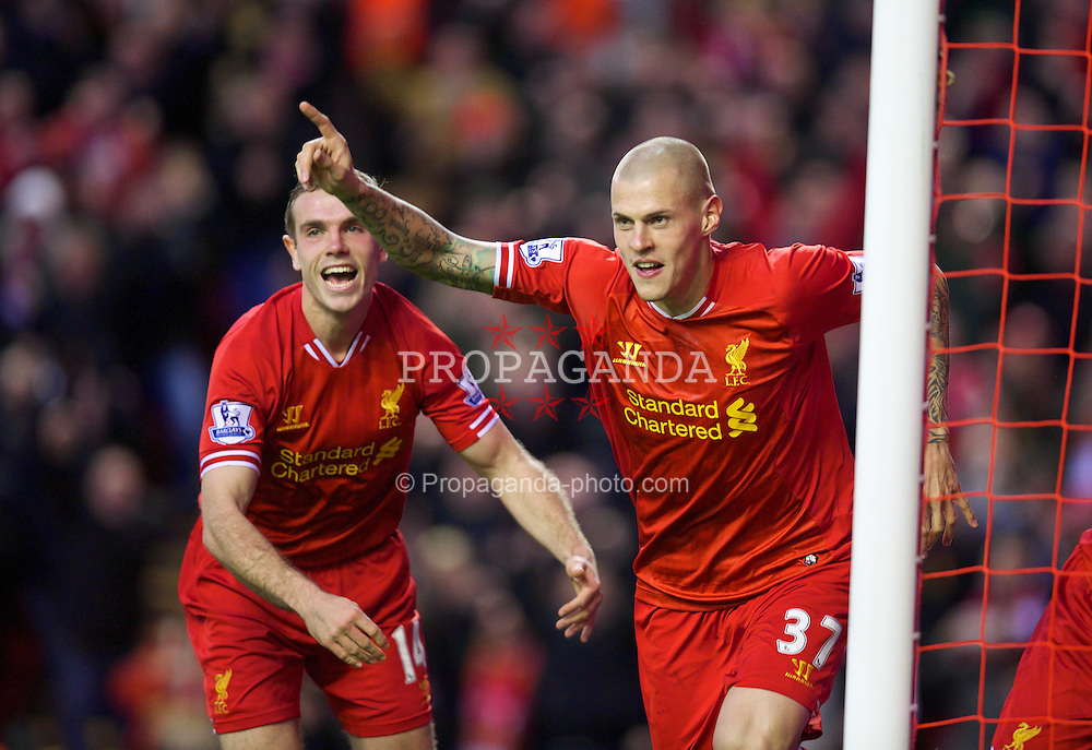 LIVERPOOL, ENGLAND - Saturday, December 7, 2013: Liverpool's Martin Skrtel celebrates scoring the second goal against West Ham United during the Premiership match at Anfield. (Pic by David Rawcliffe/Propaganda)