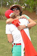 Gaby Lopez celebrates after the final round of the LPGA Qualifying Tournament Stage Three at LPGA International in Daytona Beach, Florida on Dec. 6, 2015.<br /> Lopez finished at 7-under-355 to earn her LPGA status.<br /> <br /> ©2015 Scott A. Miller