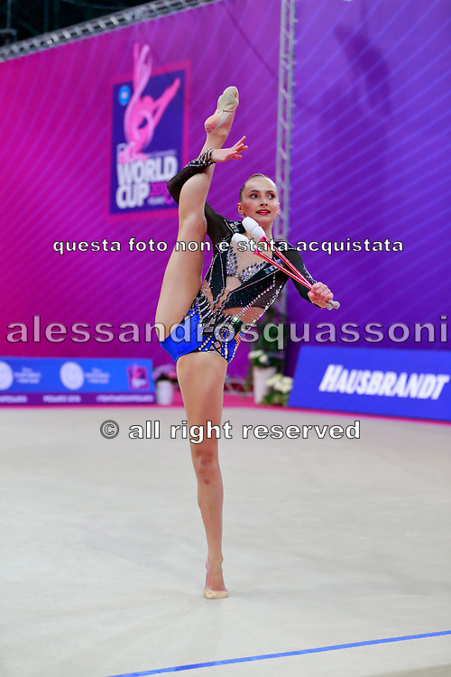 Feeley Camilla during Qualification of clubs at World Cup Pesaro 2018. Feeley is gymnast from U.S.A.