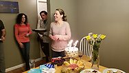 Meaghen Quinn at home after blowing out candles of her birthday party.