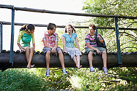 Four teenagers 916-17 years) sitting on wooden bridge talking smiling