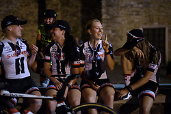 Joking in the Team Sunweb group ahead of the Giro Rosa Team Presentation in Aquileia June 29, 2017 (Photo by Sean Robinson/Velofocus.com)
