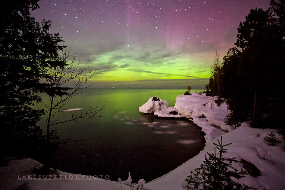 The frozen cove, aurora over Lake Superior, Marquette MI