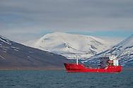 Alberto Carrera, Anchored Boat, Isfojorden, Arctic, Longyearbyen, Spitsbergen, Svalbard, Norway, Europe