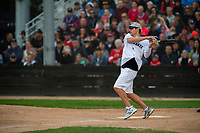 KELOWNA, CANADA - JUNE 28: NHL Montreal Canadiens goalie Carey Price hits the ball during the opening charity game of the Home Base Slo-Pitch Tournament fundraiser for the Kelowna General Hospital Foundation JoeAnna's House on June 28, 2019 at Elk's Stadium in Kelowna, British Columbia, Canada.  (Photo by Marissa Baecker/Shoot the Breeze)