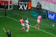 Waisea Nayacalevu Vuidravuwalu (Stade Francais) satifaction after it try scored, Remi Tales (Racing Metro 92), Julien Arias (Stade Francais) during the French championship Top 14 Rugby Union match between Stade Francais Paris and Racing Metro 92 on December 3, 2017 at Jean Bouin stadium in Paris, France - Photo Stephane Allaman / ProSportsImages / DPPI