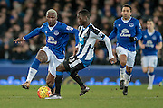 Arouna Koné (Everton) goes around Henri Saivet (Newcastle United) during the Barclays Premier League match between Everton and Newcastle United at Goodison Park, Liverpool, England on 3 February 2016. Photo by Mark P Doherty.