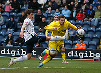 Photo: Steve Bond/Richard Lane Photography. Preston North End v Cardiff City. Coca Cola Championship. 27/02/2010. Ross McCormack (C) goes close with a diving header. Billy Jones closes in