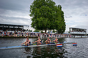 Henley Royal Regatta, 3-7 July 2019. Hollandia Roeiclub, Netherlands, NED, passing the Grandstands, in the Semi-Final, of the Town Challenge Cup, Royal Henley Peace Regatta Centenary, 1919-2019. Henley on Thames.<br /> <br /> <br /> <br /> [Mandatory Credit: Patrick WHITE/Intersport Images], 6, 06/07/2019,  16:19:37