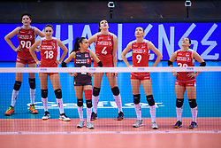 12.06.2018, Porsche Arena, Stuttgart<br /> Volleyball, Volleyball Nations League, Türkei / Tuerkei vs. Niederlande<br /> <br /> Ebrar Karakurt (#90 TUR), Gamze Alikaya (#18 TUR), Simge Sebnem Akoz (#2 TUR), Beyza Arici (#4 TUR), Meliha Ismailoglu (#9 TUR), Aylin Sarioglu (#20 TUR)<br /> <br /> Foto: Conny Kurth / www.kurth-media.de
