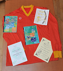 The Jersey of Castlebar Mitchels along with match programs from 1993/4 All Ireland Club championship season.<br /> Pic Conor McKeown