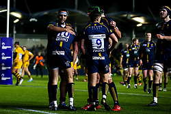 Luke Scully of Worcester Cavaliers celebrates with teammates after scoring a try - Mandatory by-line: Robbie Stephenson/JMP - 16/12/2019 - RUGBY - Sixways Stadium - Worcester, England - Worcester Cavaliers v Wasps A - Premiership Rugby Shield