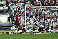 Photo: Andrew Unwin.<br /> Hearts v Gretna. Tennants Scottish Cup Final. 13/05/2006.<br /> Gretna's goalkeeper, Alan Main (R), does just enough to deny Hearts' Rudi Skacel (#8).