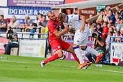 Russell Penn & Gaetano Berardi during the Friendly match between York City and Leeds United at Bootham Crescent, York, England on 15 July 2015. Photo by Simon Davies.