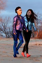 Natalie Portman shows major cleavage dressed up as a Punk Rock Star while filming VOX LUX in Plumb Beach Brooklyn alongside co-star, Raffey Cassidy. 05 Mar 2018 Pictured: Natalie Portman, Raffey Cassidy. Photo credit: LRNYC / MEGA TheMegaAgency.com +1 888 505 6342